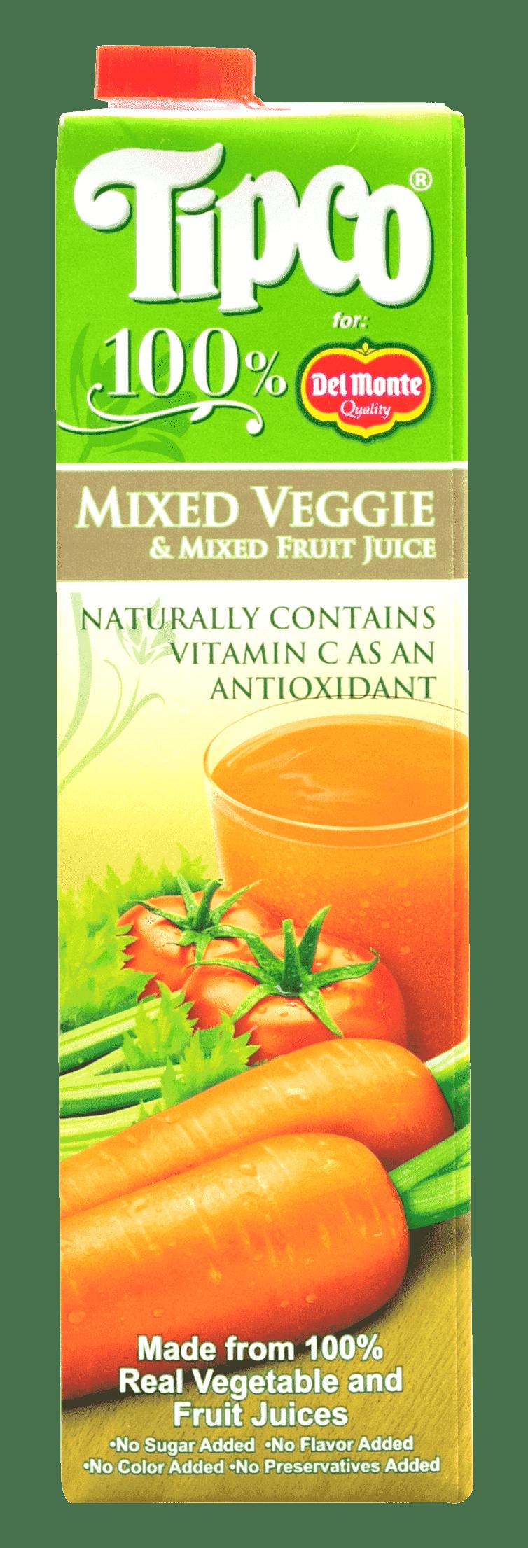 Tipco 100% Mixed Veggies and Mixed Fruit Juice