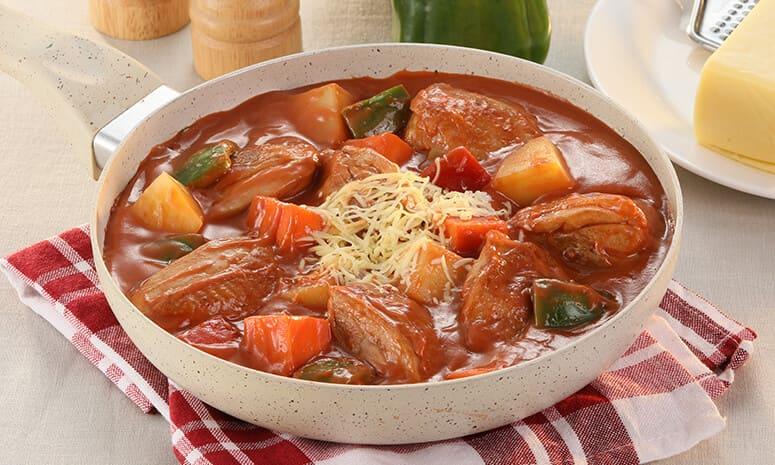 Cheesy Chicken Afritada Recipe