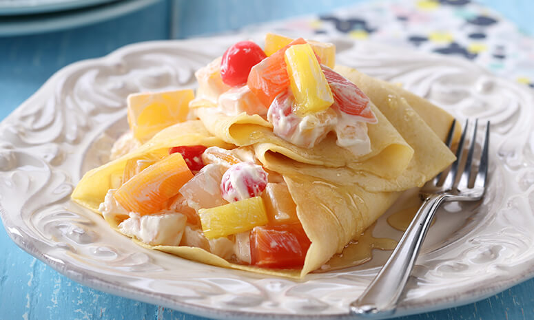 Fruit and Cream Crepes Recipe