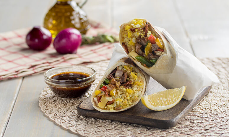 Grilled BBQ Chicken and Pineapple Rice Burrito Recipe