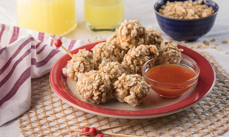 Pinipig Crusted Chicken Poppers Recipe