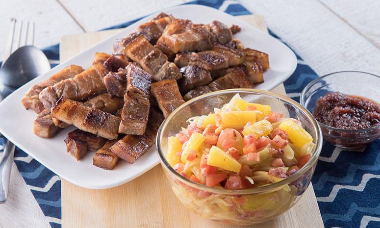Sinugba na Liempo with Ensaladang Pinya Recipe