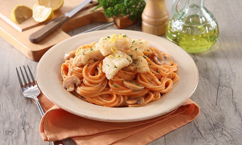 Fish & Pasta with Red Cream Sauce Recipe