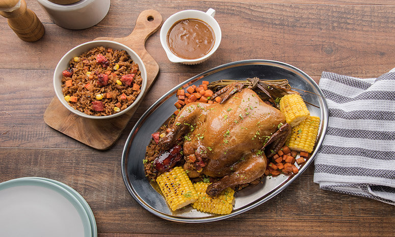Stuffed Chicken with Longganisa Rice and Baked Corn Recipe