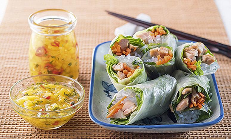 Vietnamese Grilled Chicken Spring Rolls Recipe